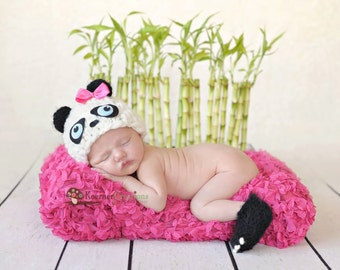 Panda Hat and Booties Newborn photography prop