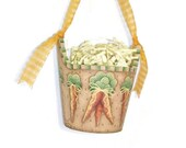 Wooden Easter Bucket - Tole Painted Carrot Patch Design