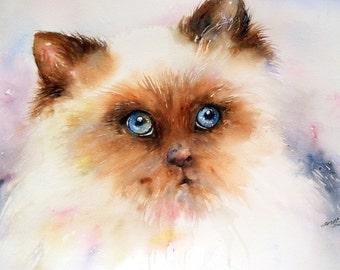 Cat Painting, white, Siamese Cat, Original Art Wall Decor Pet Portraits