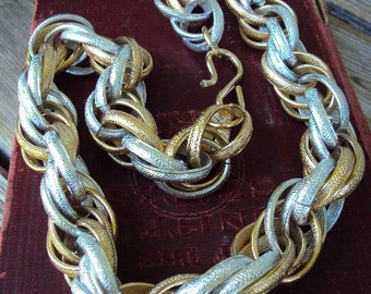 Vintage Statement Chain Necklace Chunky Link Bail Rings Gold and Silver Tone Costume jewelry