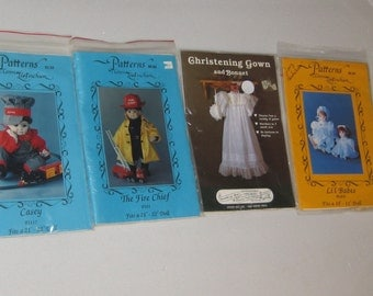 Group 4 DOLL PATTERNS Doll Emporium Boys Christening Suit American Girl Teddy Time Appliques