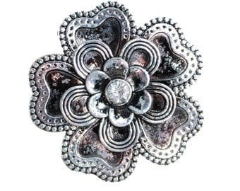 Flower Drawer Knobs - Cabinet Knobs with Petals and Crystal Center (MK135S)