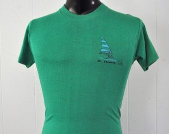 Vintage 80s Tee St Thomas Virgin Islands Wind Surfing Sailing Green Tshirt rad 80s 90s Slim SMALL