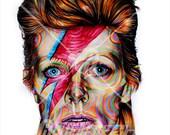 """14"""" X 11"""" David Bowie as Ziggy Stardust  Portrait  - Print"""