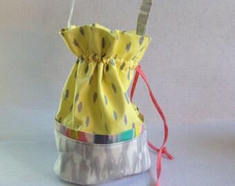 Sock Knitting Project Bag, small drawstring bag, yellow and gray droplets Iza Pearl fabric,  organizer for knitting, crocheting projects