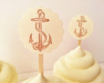 Anchor Cupcake Toppers Beach Theme Wedding Bridal Shower Nautical Anchor Dessert Buffet Toppers Set of 25