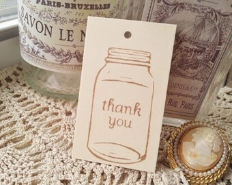 Mason Jar Tags Thank you Gift Tags Wedding Baking Cooking Set of 25