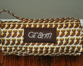 Nap Mat - Monogrammed Brown Owls Nap Mat with a Brown Minky Dot Blanket