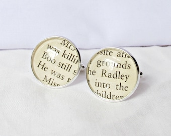 SALE To Kill a Mockingbird Cuff Links Boo Radley Wedding Groom Cufflinks. Geekery Words Literature Father of the Bride. Two Cheeky Monkeys