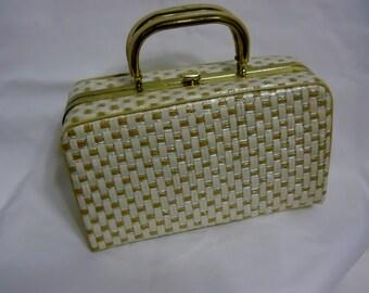 Vintage Purse Handbag 60s Raffia Straw Box Purse Tan Beige