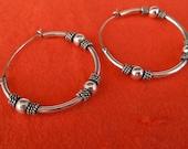 Bali Sterling Silver Hoop Creolen Earrings / silver 925 / Balinese Handmade Jewelry / 1.20 inch