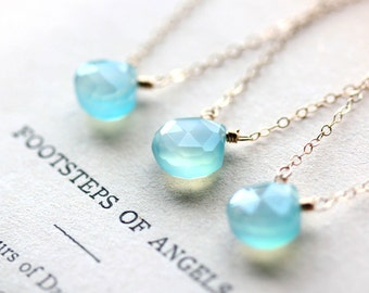 Bridesmaid Necklace Bridesmaid Gift Blue Gemstone Necklace Layering Necklace Simple Necklace Gift for Her Simple Necklace