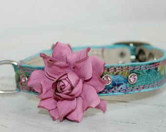 Genuine Leather Dog Collar,Shabby Chic Floral Print Blue Leather,Pink Leather Rose. Made to order