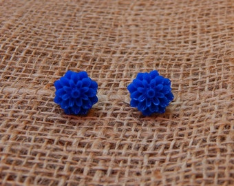 Dark Blue Resin Flower Stud Earrings
