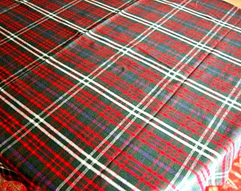 Vintage Christmas Holiday Tablecloth Supple Cotton Check Plaid Red Green 62""