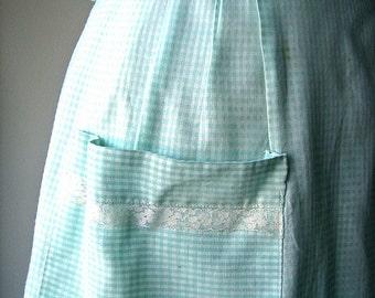 Apron Vintage Kitchen Skirt Cover Pinafore Yellow White red Chintz Print Cotton