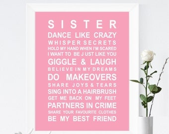 Unframed Sisters wall art print - Typography poster for sisters