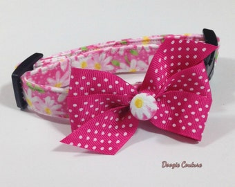 Pink Flowers Dog Collar Size XS through Large by Doogie Couture Pet Boutique