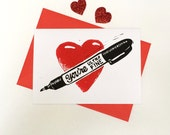 Funny Linocut Valentines Card, Ultra Fine Sharpie, Geeky Valentines card, Hand Printed Card, Anniversary Card, Marker Pen,