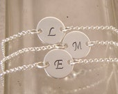 Dainty initial bracelet - Bridesmaid gift - Personalized Sterling silver custom letter bracelet - Photo NOT actual size