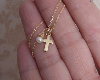 Dainty Gold cross necklace - Cross and pearl or birthstone necklace - Dainty cross necklace - Photo NOT actual size