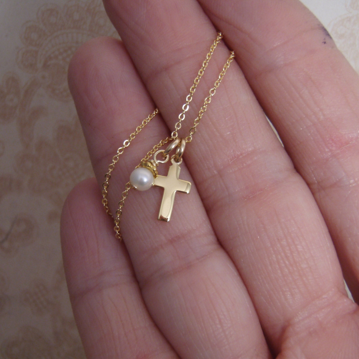 Dainty Gold Cross Necklace Cross And Pearl Or Birthstone