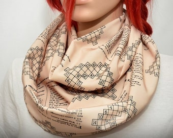 Infinity scarf with world's first crossword puzzle ever published