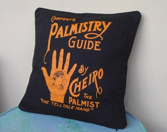 """black and orange 16"""" x 16"""" palm reading throw pillow cover Obscure Fate - bohemian decor, palmistry reading, unique,gifts for her,chiromancy"""