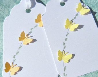Butterfly Gift Tags -  Bridal Shower Gift Tags - Wedding  Wish Tree Gift Tags - Baby Shower Gift Tags - Yellow Butterfly Tags - YBT