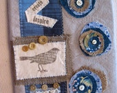 Bird art quilt collage journal  fabric book cover notebook blank book upcycle
