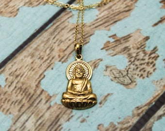 Long Layered Buddha Necklace in Bronze and 14K Gold Filled