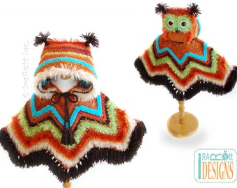 SALE - Fiesta Owl Poncho with Spooky Eyes - READY to SHIP for size 6 years to Preteen
