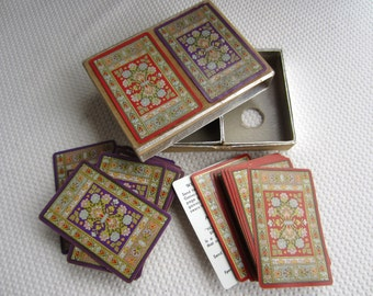 Vintage Tapestry Persian Rug Playing Cards 2 Decks Purple Red