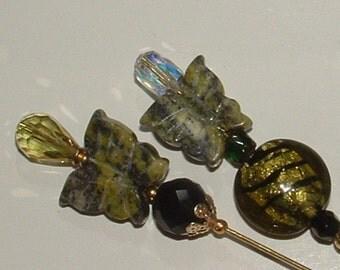 HATPINS- my own designs- springtime butterflies in serpentine gemstones-  crystals and lampwork