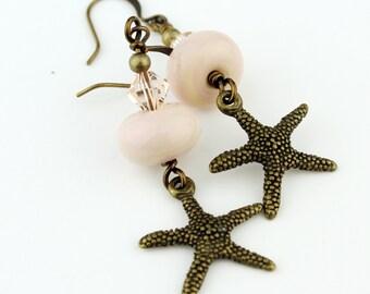 Pink Lampwork Beaded Earrings Antique Brass Starfish Beaded Jewelry  'Sea Stars' SRAJD