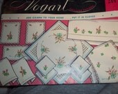 Clover Flowers Embroidery Pattern Vogart 214 uncut pattern, towels, scarfs, vanity sets vintage transfer  pattern