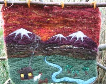 Homestead Sunrise - Felted Wool Wall Hanging
