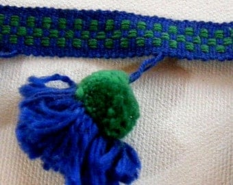 Vintage 1960's  Acorn Tassel Trim 2 1/4 inch Royal Blue and Green