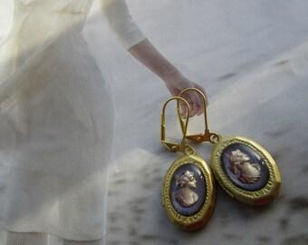 Vintage Glass Lady Cameo Locket  Earrings