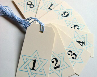 Hanukkah Gift Tags, Star of David Tags,  Numbered Tags, Numbered Gift Tags, Chanukah tags, Hanukkah Gift, Hanukkah tags, 8 nights, Hanukkah