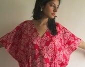 Drawstring Free Damask Kaftan Dress Summer Dress, Long Maxi, loungewear, beachwear, Maternity Dress, Holiday Vacation Wear