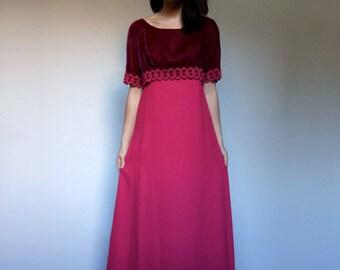 70s Long Fuchsia Dress Velvet Lace Maxi Dress Short Sleeve Party Dress - Small Medium S M