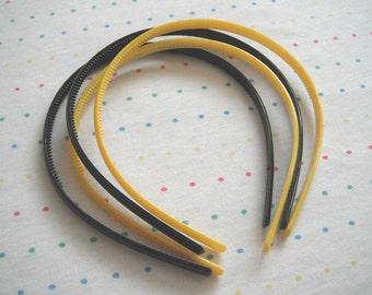 Yellow and Black Plastic Headbands, 8 mm Wide (4)