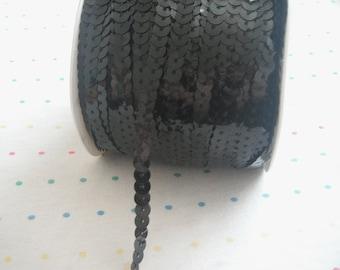 Black Sequin Trim, 6 mm - 5 Yards