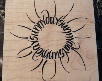 Reduced! Sunny Days - Large WM Rubber Stamp - Wordsworth - Crafts - Collage - Scrapbooks - Cards - FREE ShippingRed
