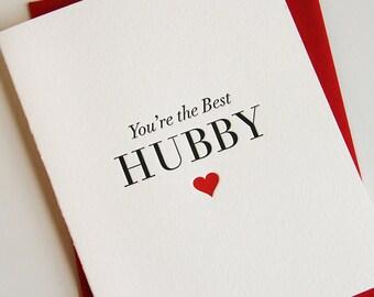 Letterpress Valentine card for husband - Best Hubby