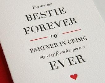 Schön Letterpress Valentine Card   Friendship Card   Besties Forever