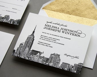 Letterpress Wedding Invitation Set - New York City Skyline