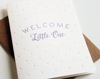 SALE - Letterpress Baby Congratulations card- Little One