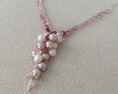 Freshwater Pearls and Pink Tourmaline Pendant Necklace in Sterling Silver